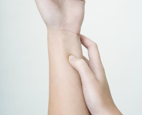 Acupressure may be used to stimulate points on the body, as an alternative to acupuncture.